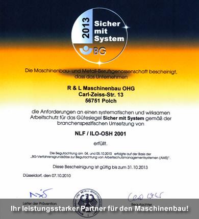 """Zertifikat """"Sicher mit System"""""""